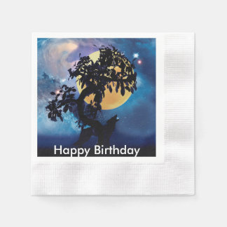 Wolf howling at the moon napkin