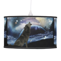 Wolf howling at the moon pendant lamp