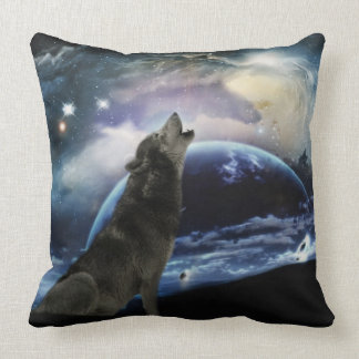 Wolf howling at the moon pillow