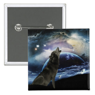Wolf howling at the moon pinback button