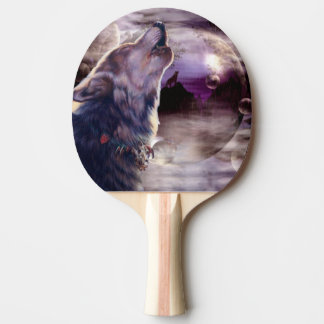 Wolf Howling at The Moon Ping-Pong Paddle