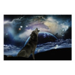 Wolf howling at the moon posters