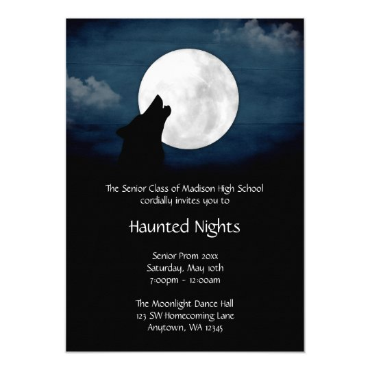 Wolf Howling at the Moon Prom Formal Invitation | Zazzle