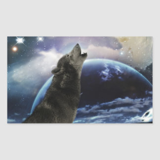 Wolf howling at the moon rectangular sticker