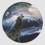 Wolf howling at the moon round stickers