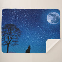 WOLF HOWLING at the MOON Sherpa Blanket