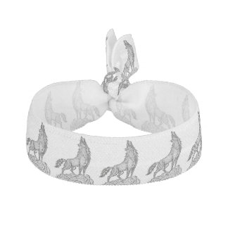 Wolf Howling at the Moon Silhouette Hair Tie