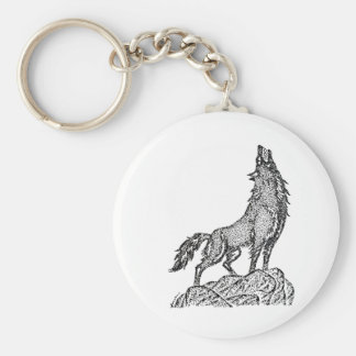 Wolf Howling at the Moon Silhouette Keychain
