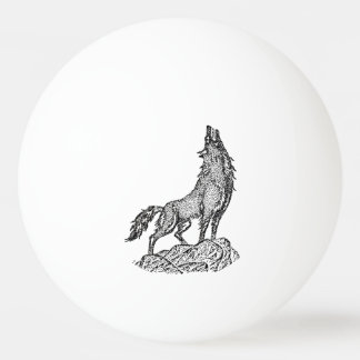 Wolf Howling at the Moon Silhouette Ping-Pong Ball