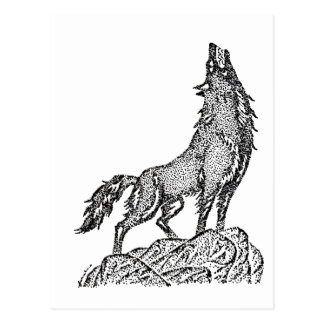 Wolf Howling at the Moon Silhouette Postcard