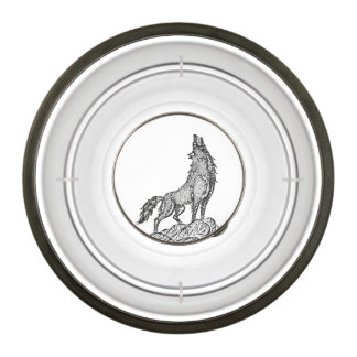 Wolf Howling at the Moon Silhouette Pet Bowl