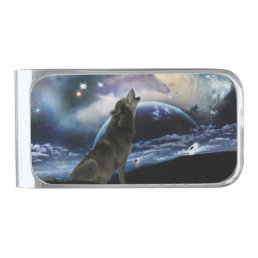 Wolf howling at the moon silver finish money clip