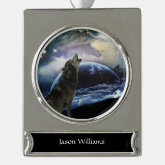 Wolf howling at the moon silver plated banner ornament