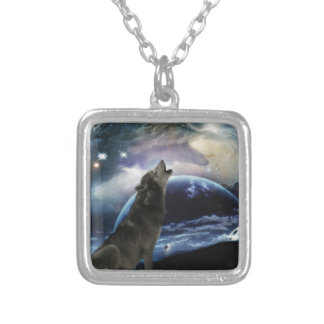 Wolf howling at the moon silver plated necklace
