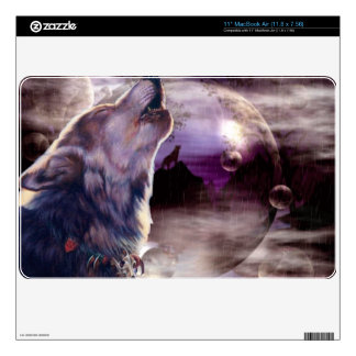 Wolf Howling at The Moon Skins For The MacBook Air