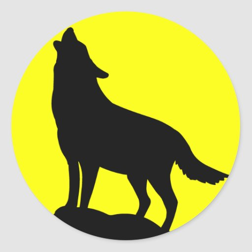 Wolf Howling at the Moon. Stickers