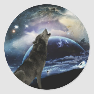 Wolf howling at the moon classic round sticker