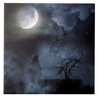 Wolf Howling at the Moon Tiles