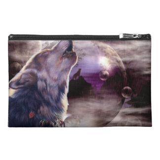 Wolf Howling at The Moon Travel Accessories Bag