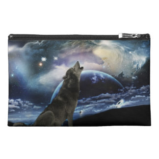 Wolf howling at the moon travel accessory bags