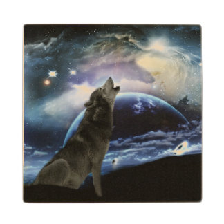 Wolf howling at the moon wood coaster