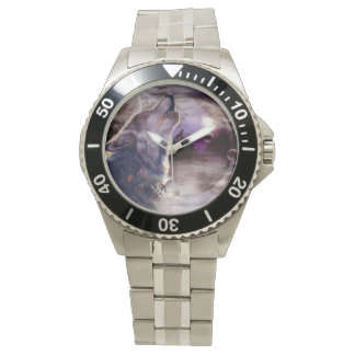 Wolf Howling at The Moon Wrist Watch