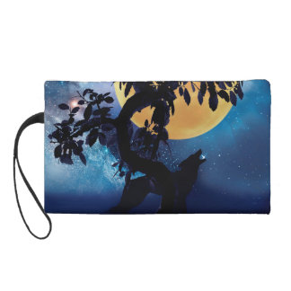 Wolf howling at the moon wristlet purse