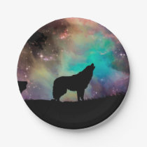 Wolf howling at the universe paper plate