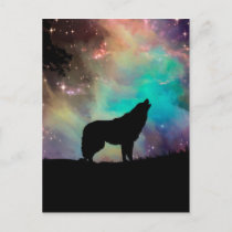 Wolf howling at the universe postcard