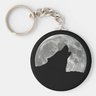 wolf howling basic round button keychain