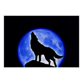 Wolf Howling Blue Full Moon Night Poster