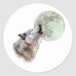 Wolf Howling Classic Round Sticker