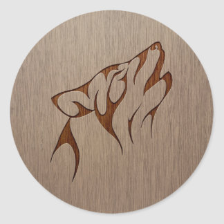Wolf howling engraved on wood design classic round sticker