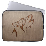 Wolf howling engraved on wood design computer sleeves