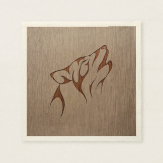 Wolf howling engraved on wood design napkin