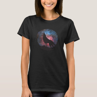 Wolf Howling in Galaxy T-Shirt