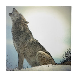 Wolf Howling in Snow Ceramic Tile