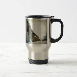Wolf Howling in Snow 15 Oz Stainless Steel Travel Mug