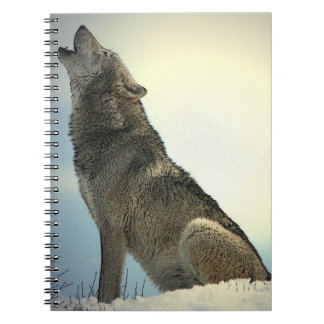 Wolf Howling in Snow Notebook