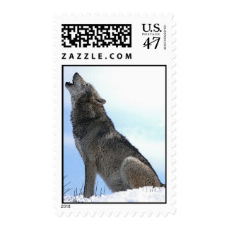 Wolf Howling in Snow Postage