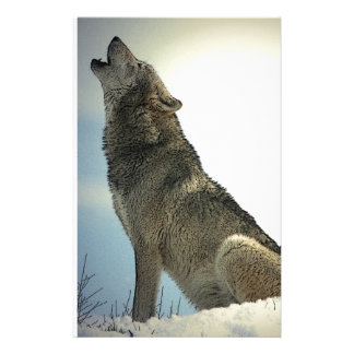 Wolf Howling in Snow Stationery