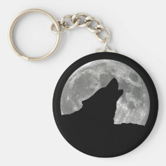 wolf howling key chain