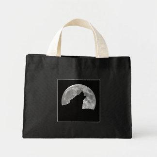 wolf howling mini tote bag
