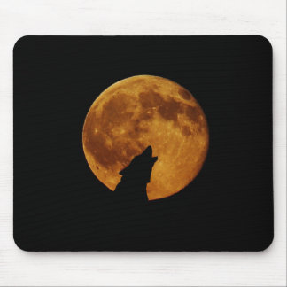 Wolf Howling Moon Mouse Pad