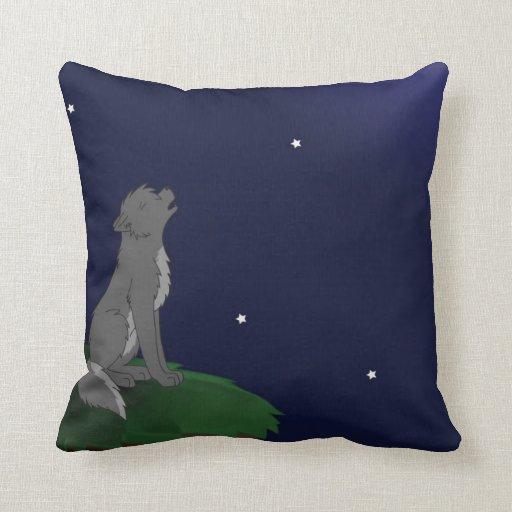 Wolf Howling Throw Pillows