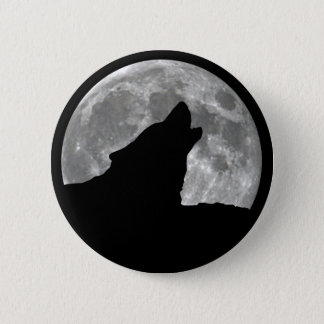 wolf howling pinback button