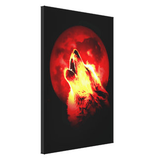 Wolf Howling & Red Moon Wrapped Canvas