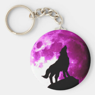 Wolf Howling Silhouette at Moon Keychain