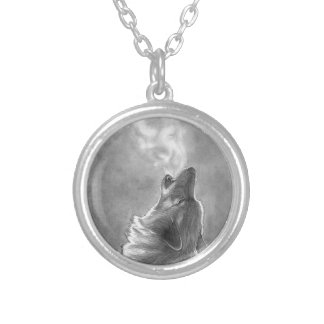 Wolf Howling Silver Plated Necklace