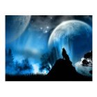 Wolf Howling To 2 Moons Postcard